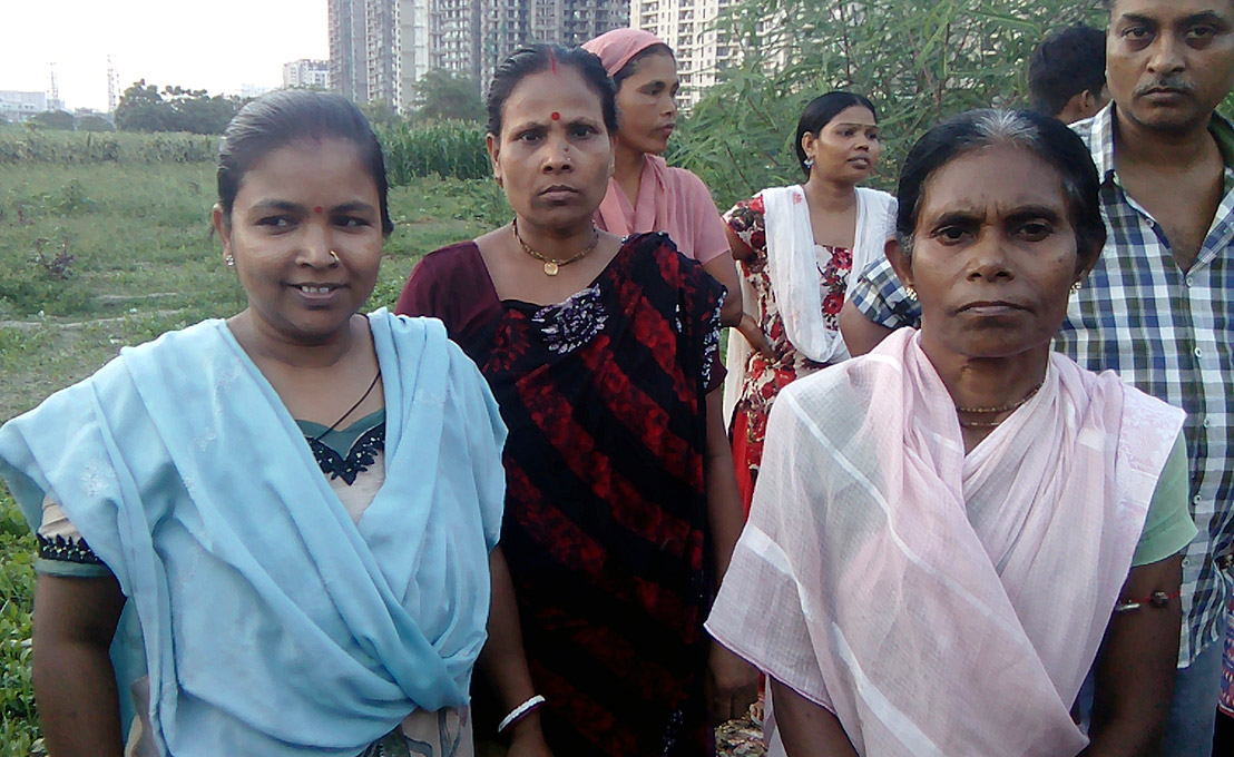 Mona Biswas (left) Sudevi Halder (centre) and Meera Halder (right). (Photo credit: Abhishek Dey).