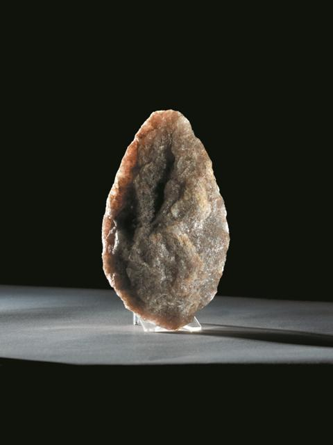 A white quartz hand axe from the British Museum collection, which is similar in shape to hand axes found in other parts of the world. Photo courtesy: British Museum