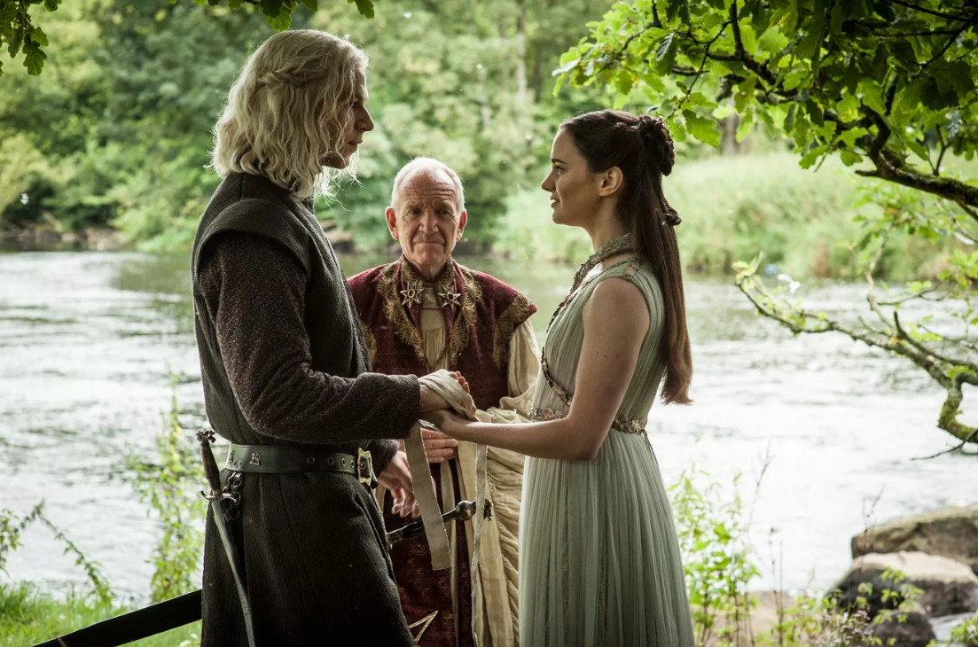 Rhaegar Targaryen and Lyanna Stark wed in secret. Courtesy HBO.