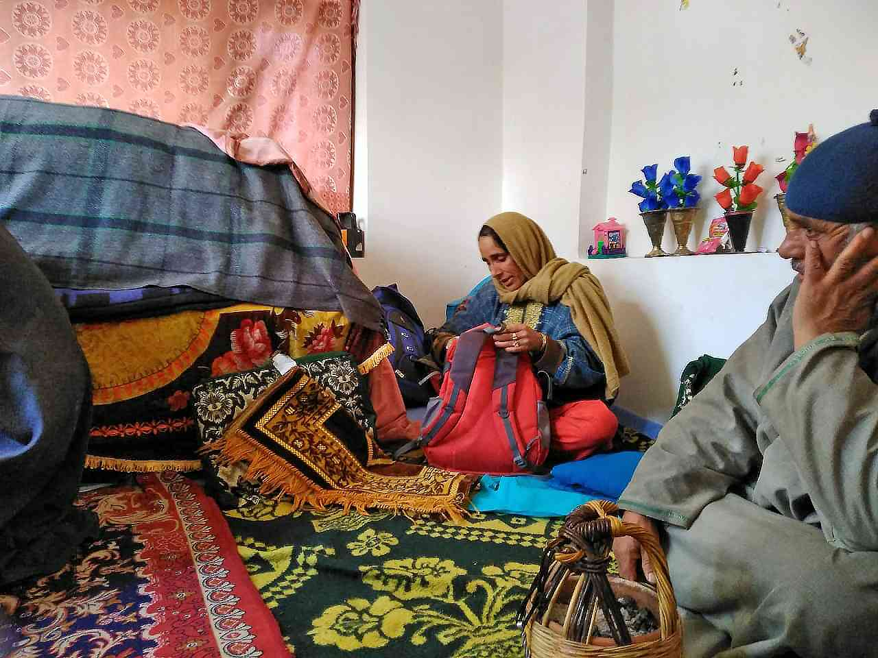Khushboo Jan's parents at their home in Shopian. Photo credit: Safwat Zargar