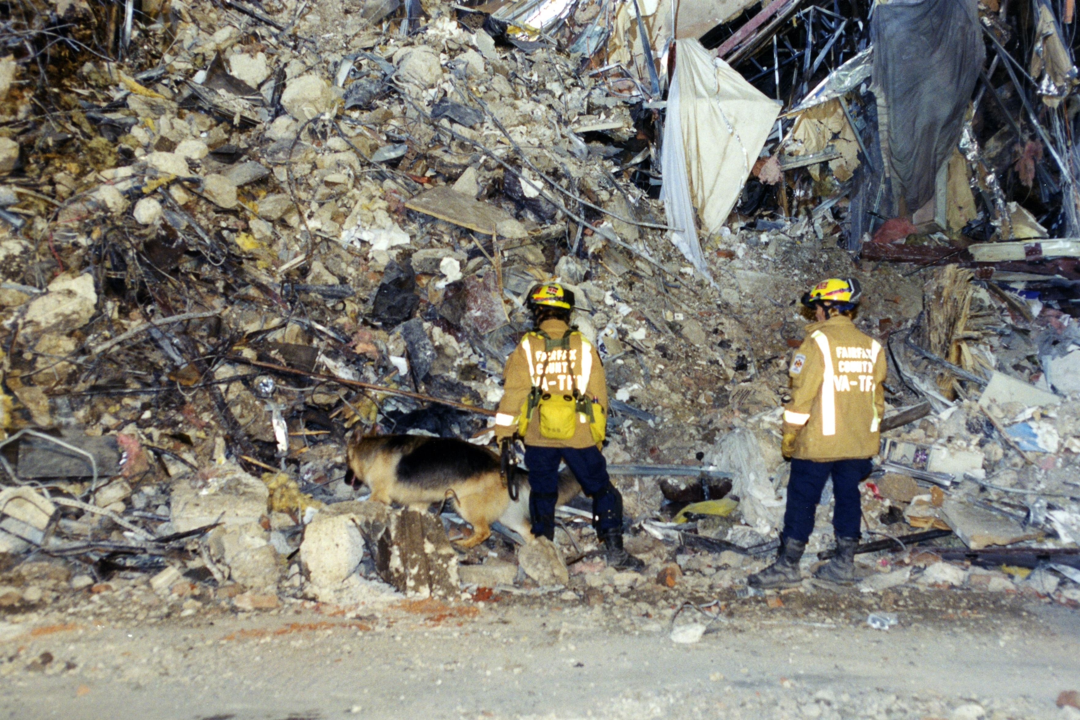 Fairfax County personnel with canine searching through debris outside the Pentagon following the attack on 9/11. (Pic: FBI)