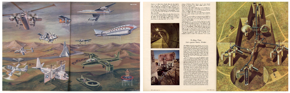 "Left: ""Experimental Aircraft."" Max Gschwind, Fortune, 1958. Right: ""To Keep Titan Safe Against Enemy Missiles."" Max Gschwind, Fortune, 1960."