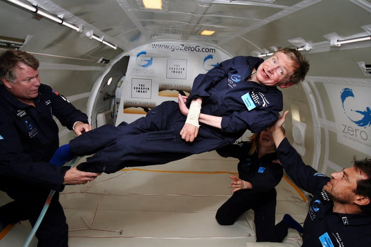 Hawking in zero gravity. Photo credit: NASA