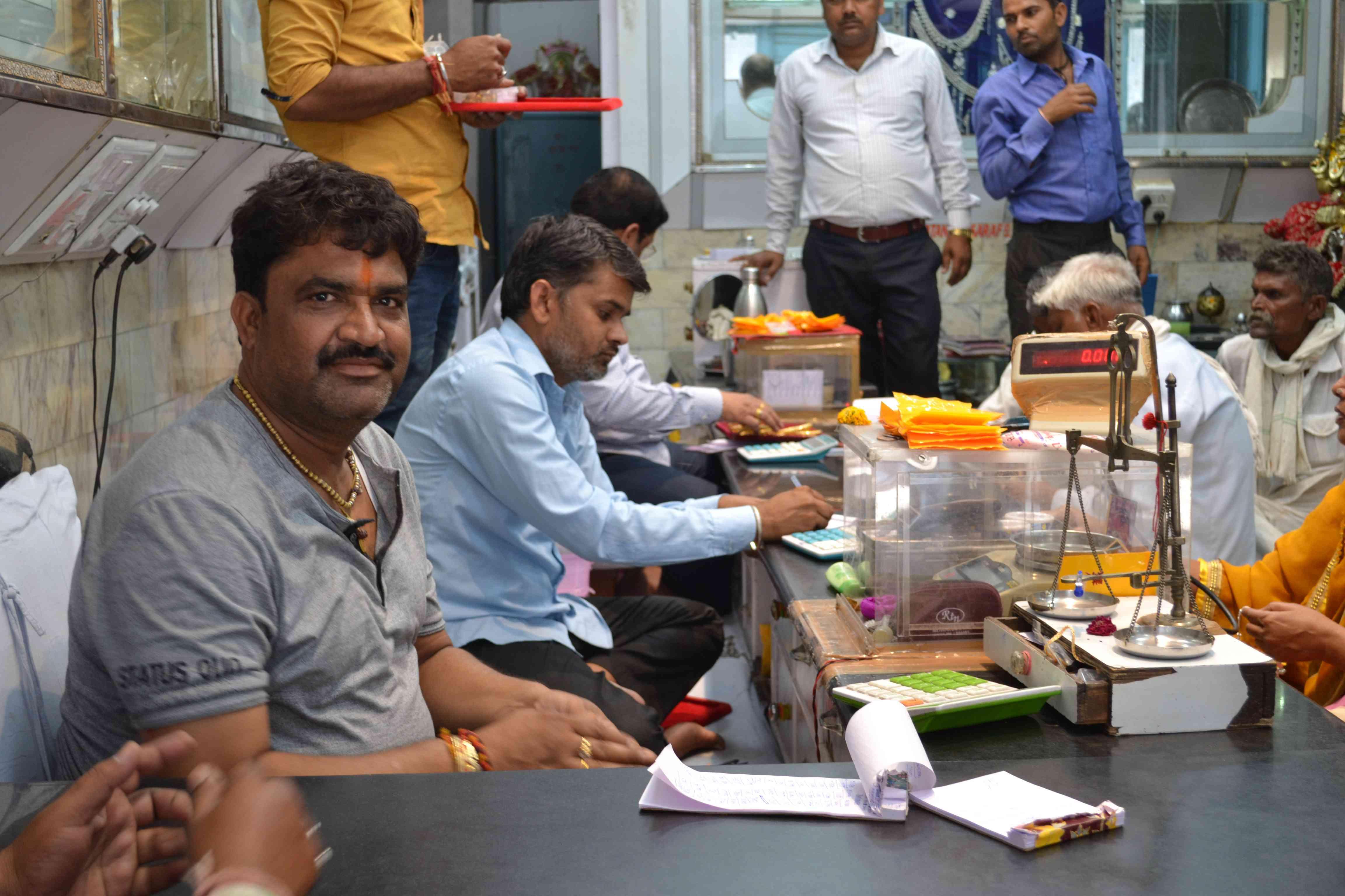 Surjit Aggarwal in his jewellery store in Darba. Photo credit: Akash Bisht