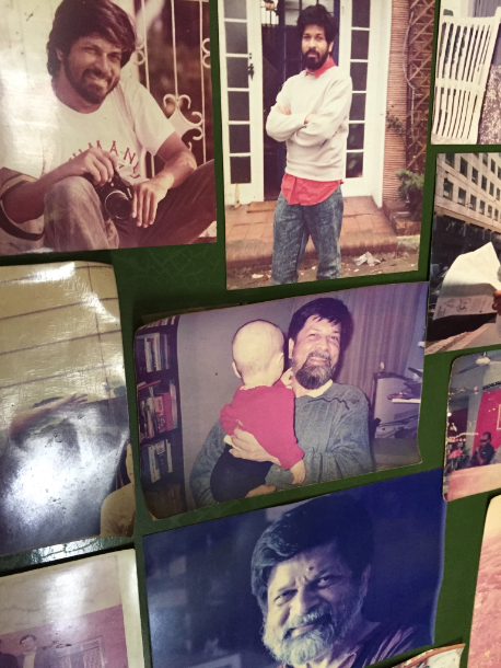 Photographs of Shahidul Alam at his apartment, from his tousled-haired youth to his rugged khadi-clad present. (Credit: Kanak Mani Dixit)