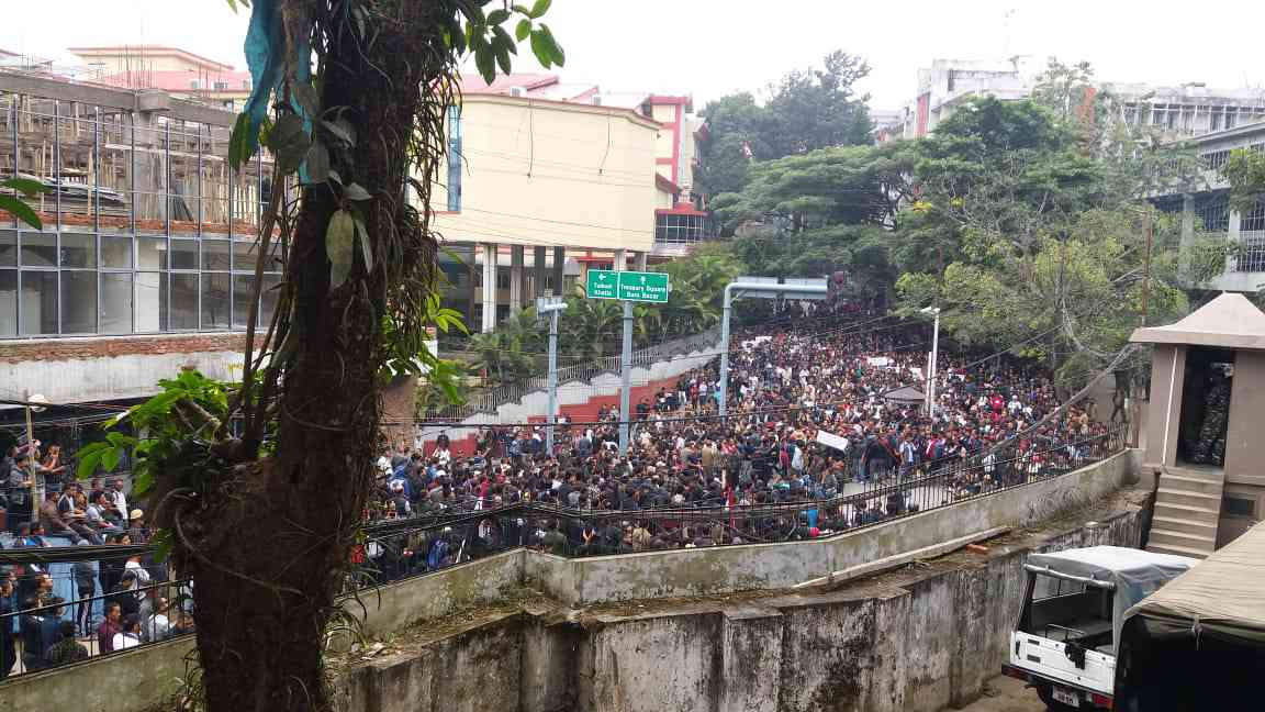 Protestors thronging the streets of Aizawl on November 6  (Credit: Special Arrangement)