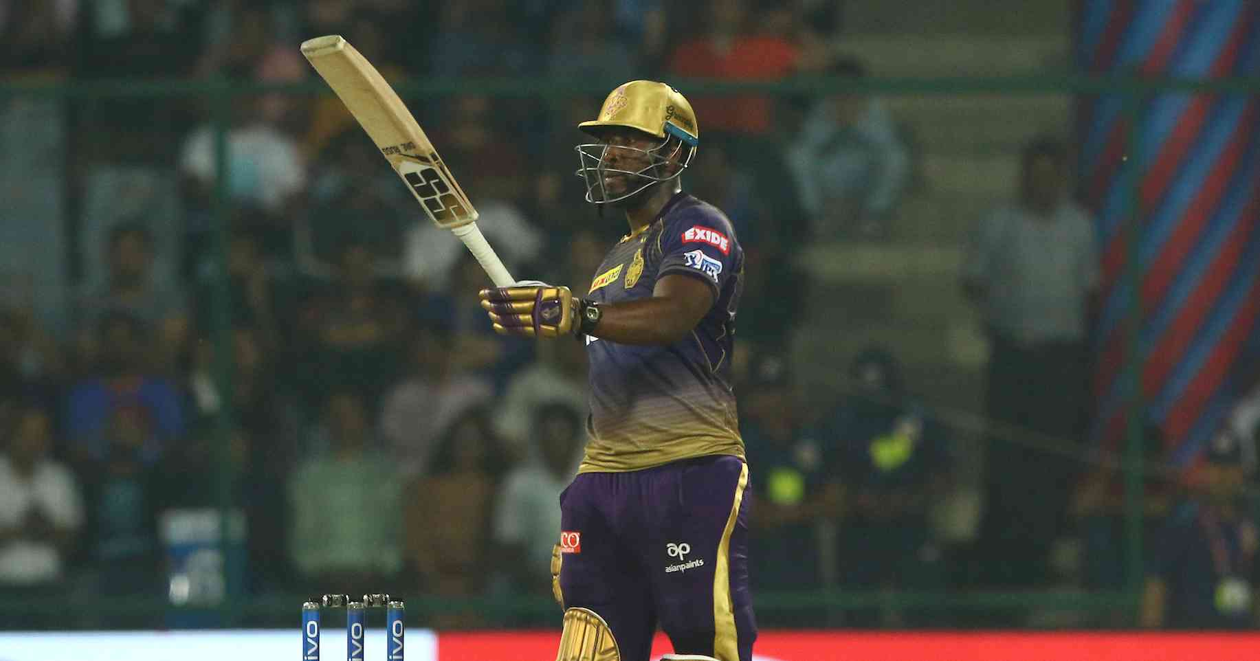Andre Russell in action during IPL 2019 -- Image credit: Saikat Das / Sportzpics for BCCI