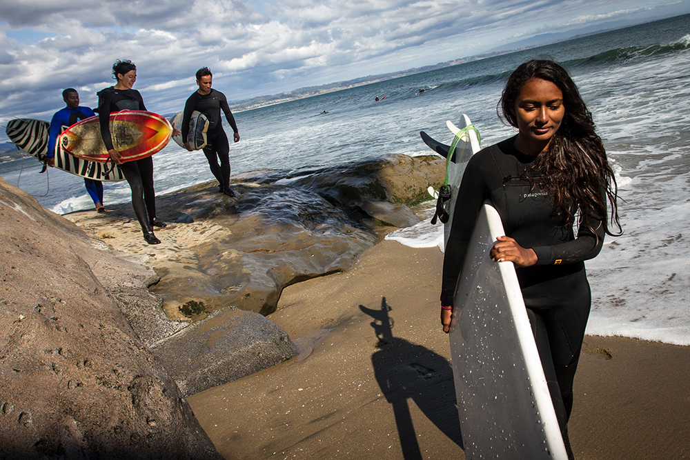 Santa Cruz, California: On a tour of the US, India's first female professional surfer Ishita Malaviya spends an afternoon surfing with her partner Tushar Pathiyan (far left) and local surfers. Ishita and Tushar founded the Shaka Surf Club in Manipal, India.