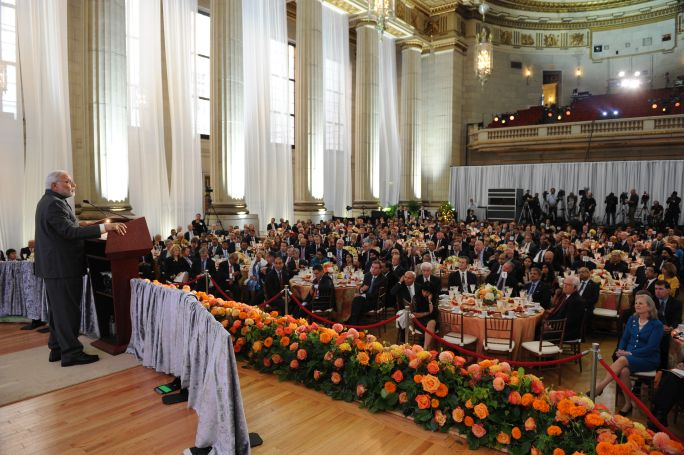 Prime Minister Narendra Modi addressing the US-Indian Business Council in September 2014. (Narendra Modi/Flickr)
