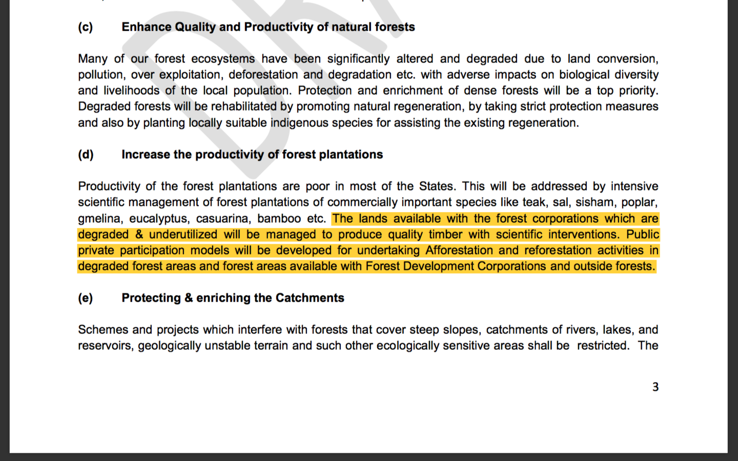 Extract of the Draft National Forest Policy 2018 allowing public private partnership to grow plantations in forests.