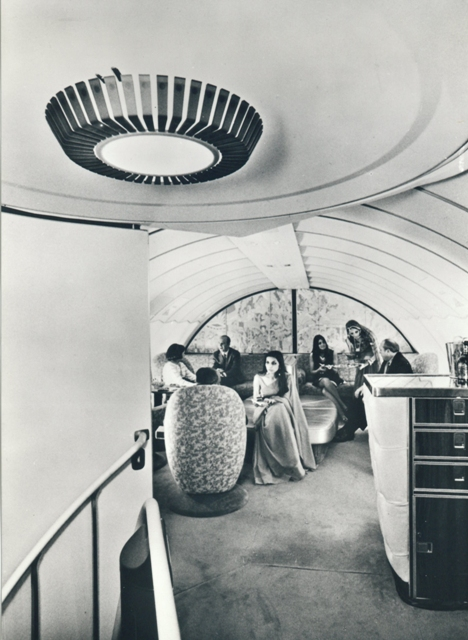 The upper-deck lounge of Emperor Ashoka, shot in the summer of 1972 at Geneva airport.