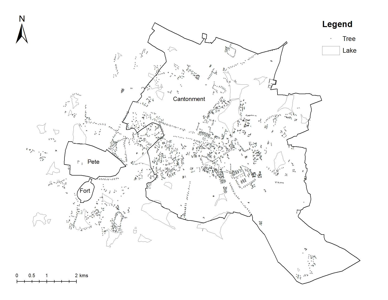 Distribution of trees and lakes in Bengaluru in 1885