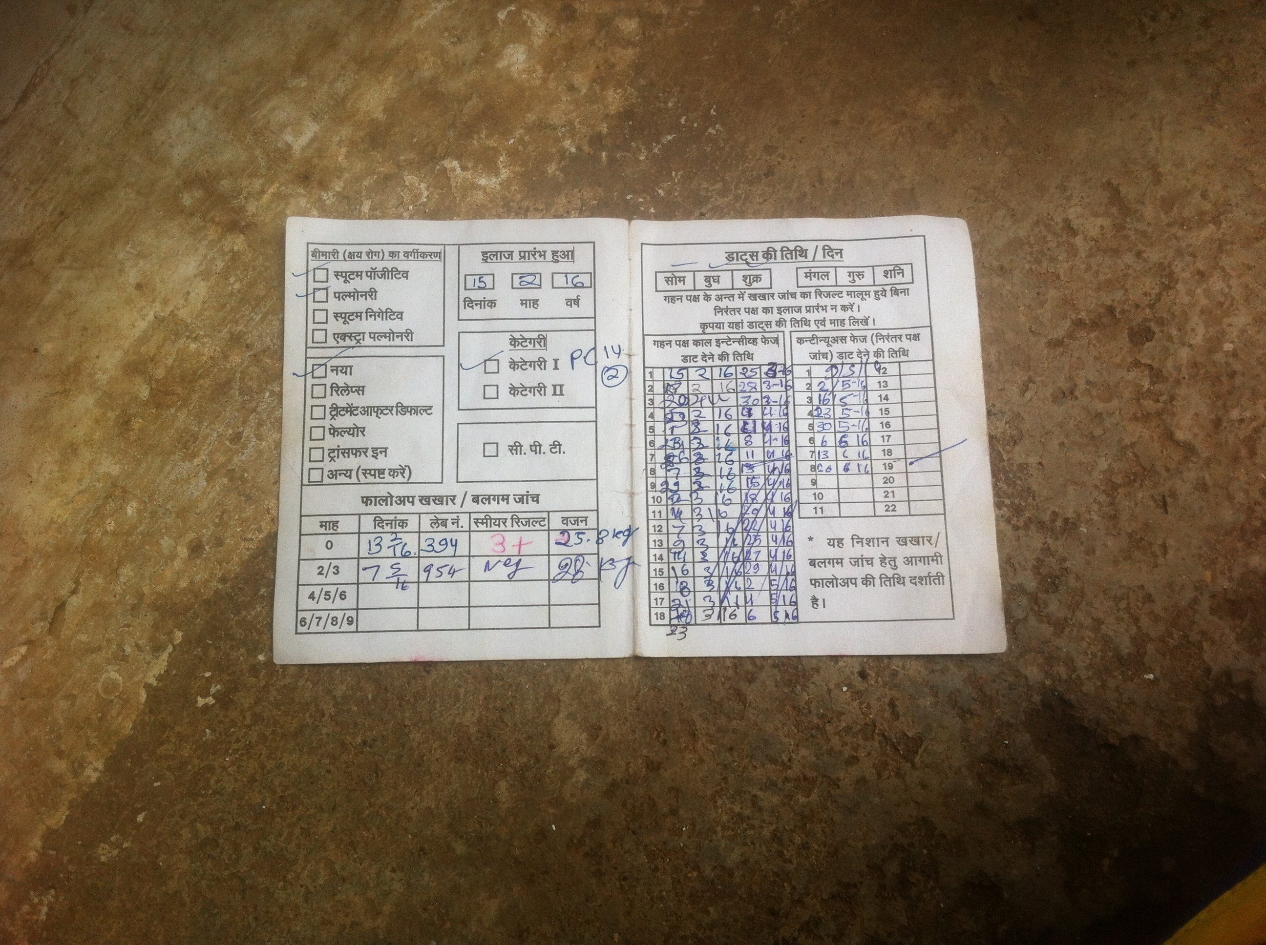 Rajendra's card which records his treatment.