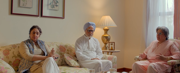 Daman Singh (Gull Jolly), Manmohan Singh (Anupam Kher) and Gursharan Kaur (Divya Seth Shah) in The Accidental Prime Minister (2019).