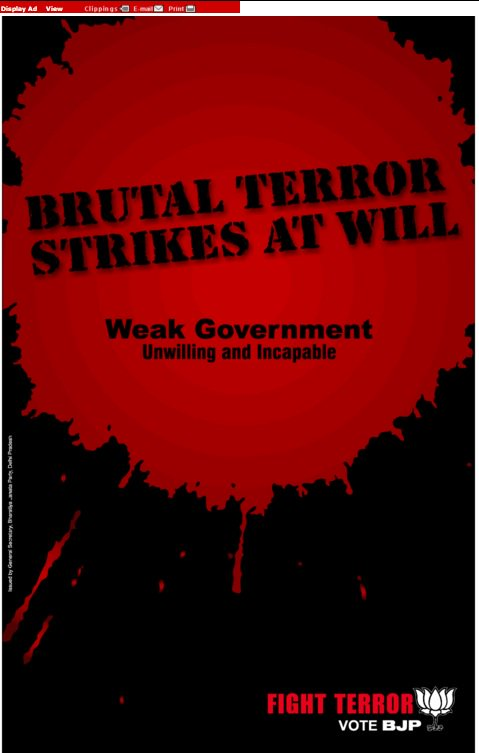 BJP ad published on November 28, 2008, as a response to the ongoing Mumbai terror attack