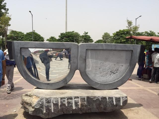 The Mirror, by Bhupat Dudi, at Palika Bazaar. One of the sculpture's mirrors has been vandalised. Credit: Zinnia Ray Chaudhuri