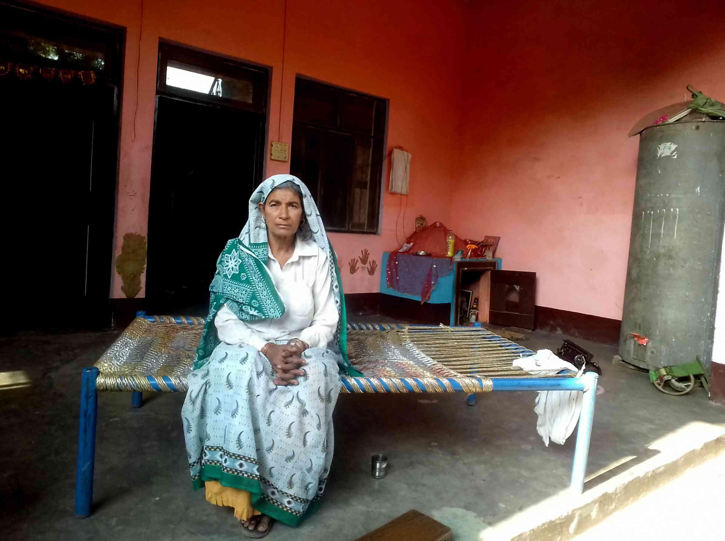 Jitendra Malik's mother Ratan Kaur at their home in Mahaw village, Bulandshahr. Photo credit: Abhishek Dey