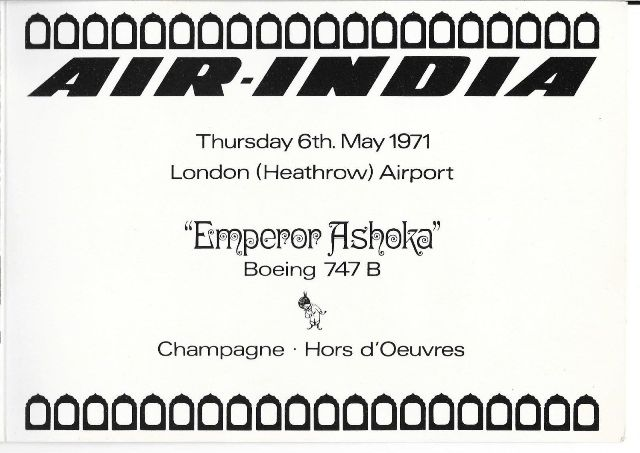 A brochure for one of Emperor Ashoka's first flights.