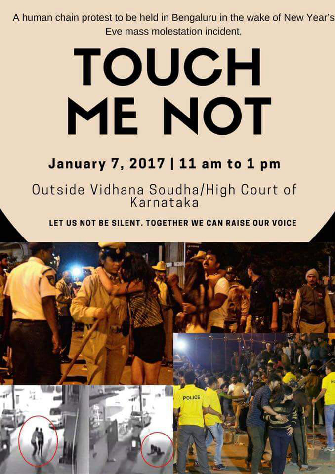 A protest poster shared widely on social media, following several molestation cases in Bangalore on New Year's eve.