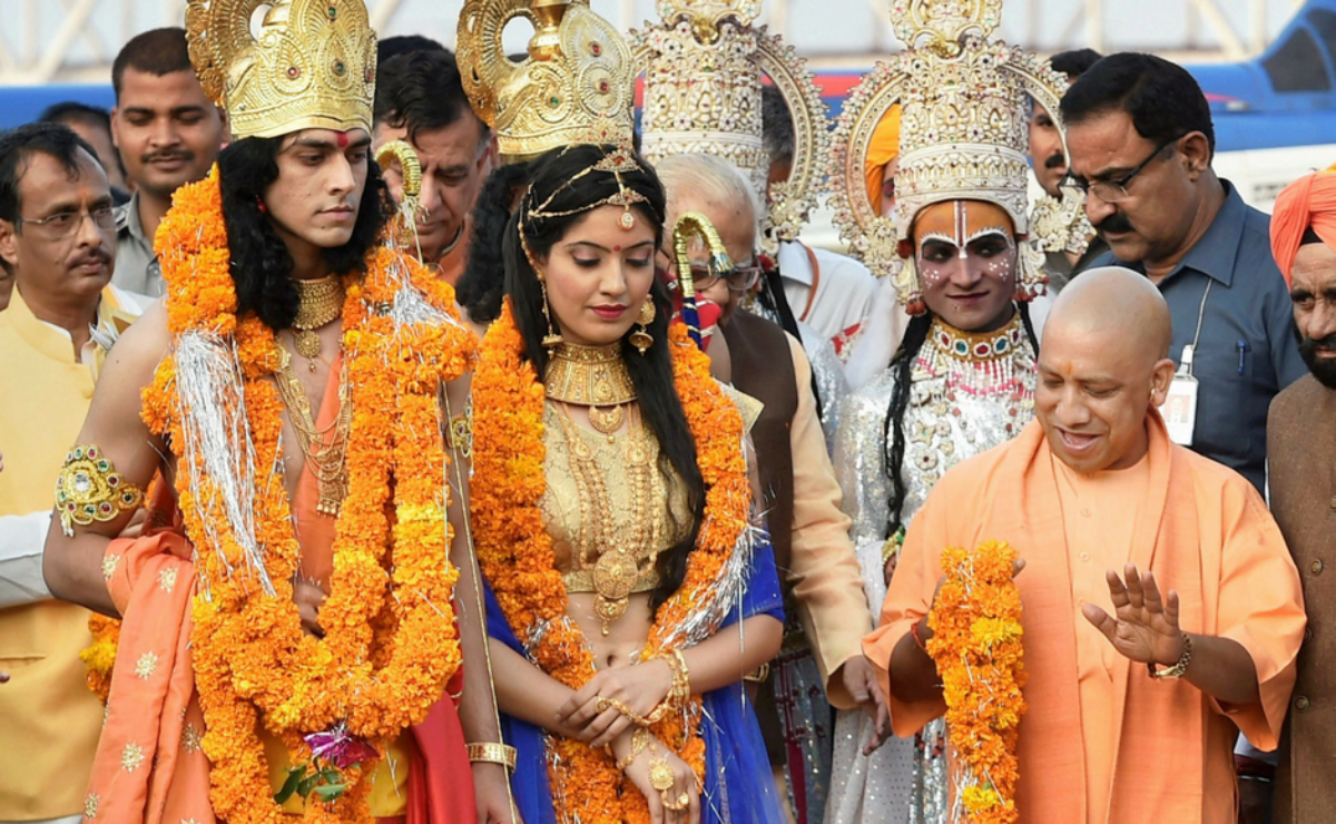 Months after he became the chief minister of Uttar Pradesh, in October 2017, Adityanath welcomed actors dressed as Ram and Sita to a government event in Ayodhya. Photo: PTI