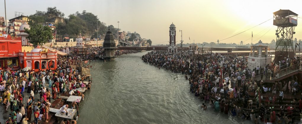 Pilgrims celebrating the arrival of the Ganga from heaven at the Ganga Dussehra are completely oblivious that the real course of the river has dried up