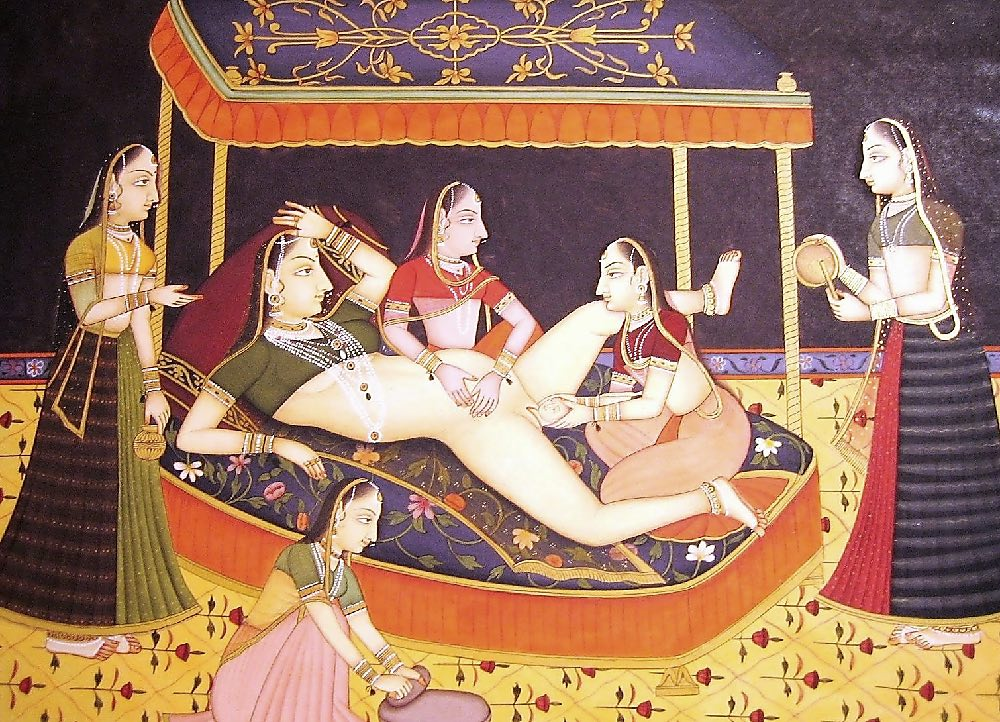 Childbirth. Bilaspur, 1675-1700, Mughal painting.