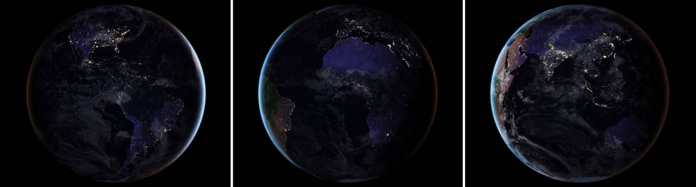 These three composite images provide full-hemisphere views of Earth at night. Photo Credit: Nasa