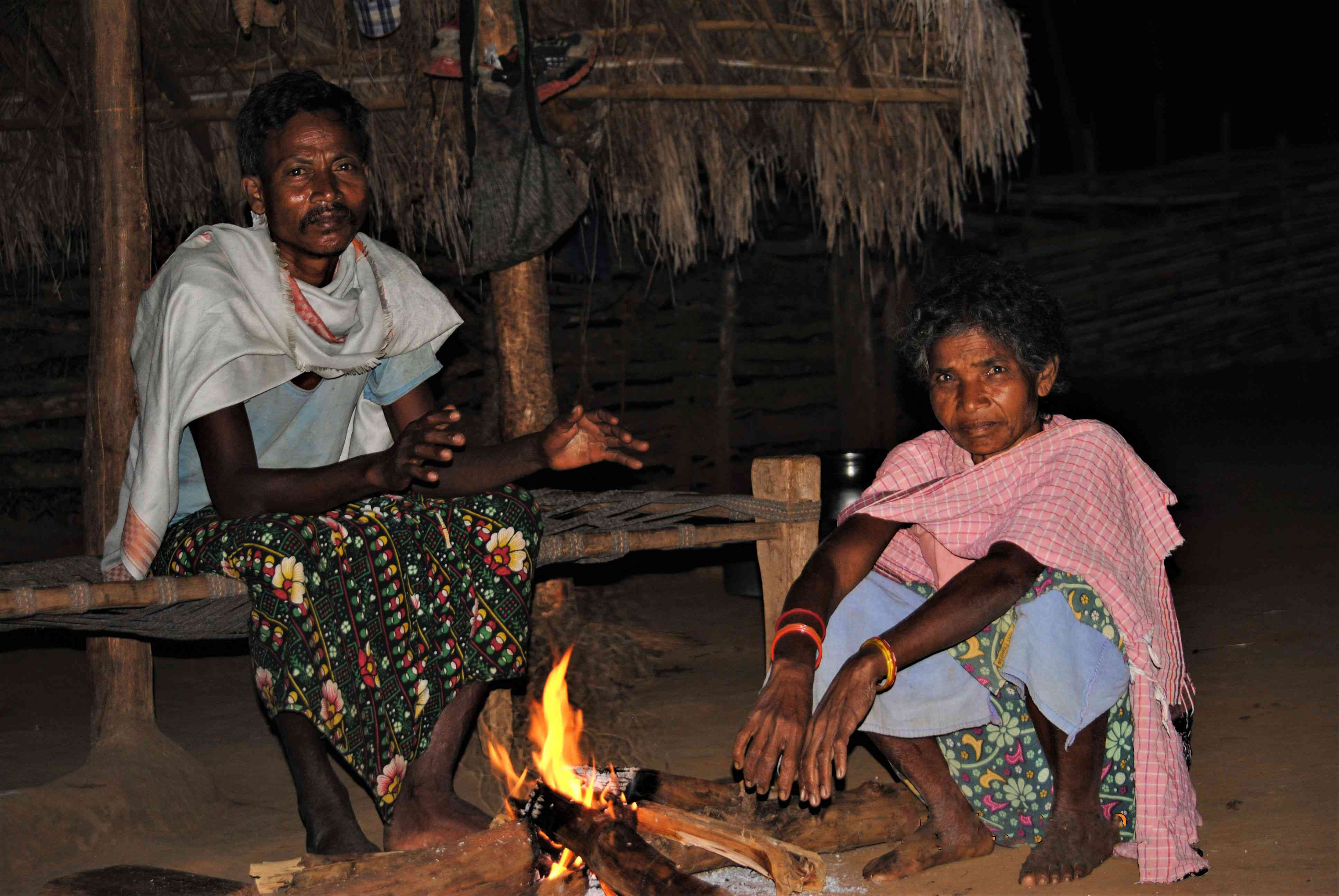 Durma village residents Barse Hidma and his wife after a tense night.