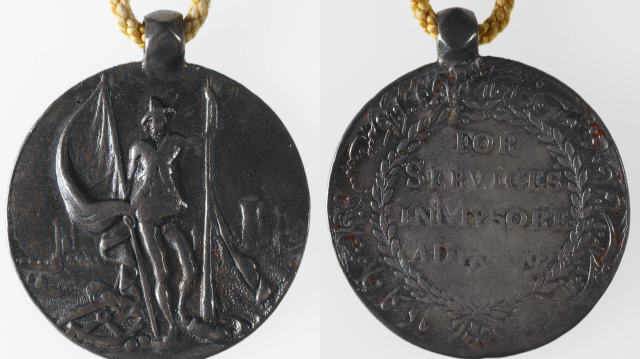 Medal issued during the Campaign in Mysore, 1790-92, silver circular medal, 1.5