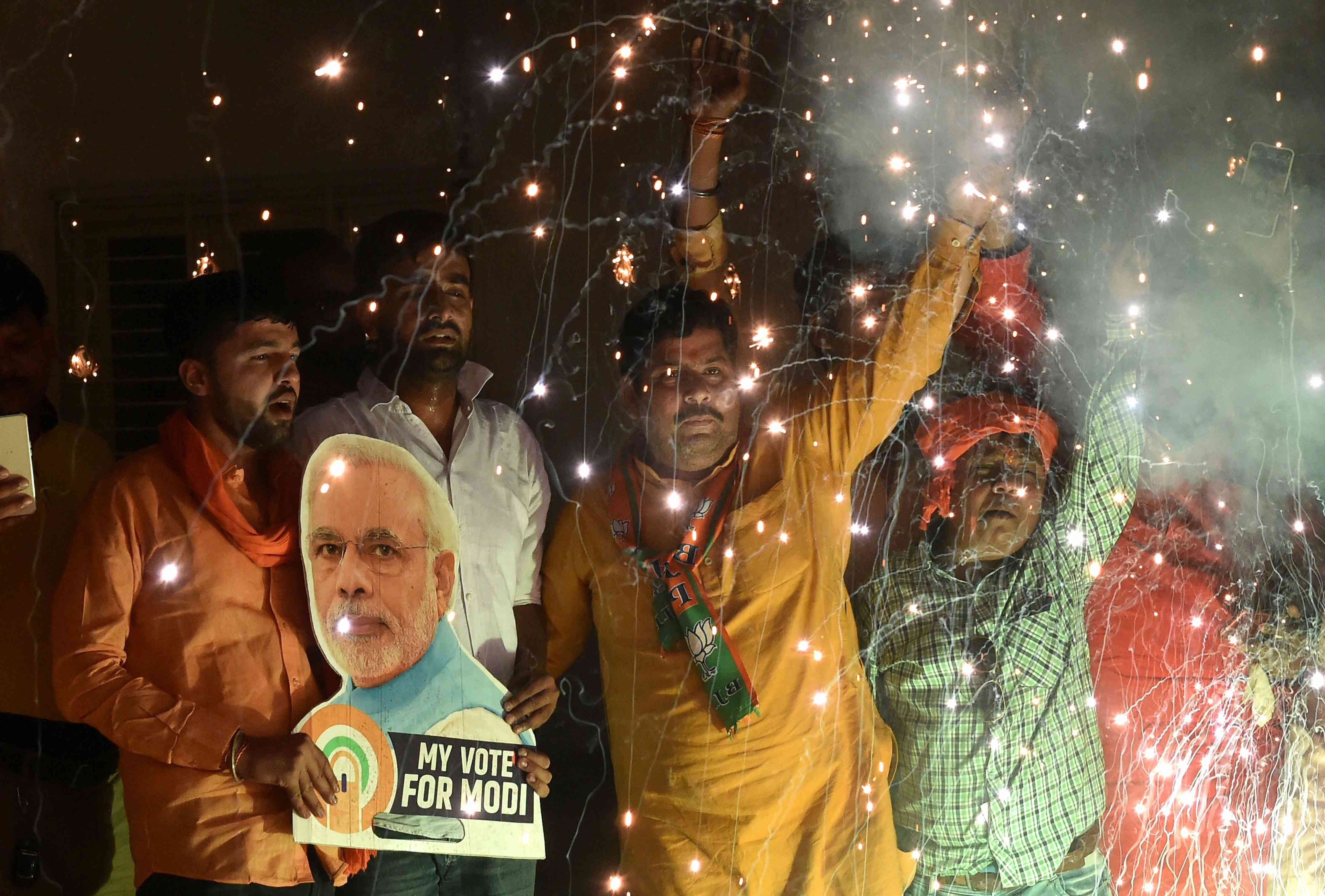 Modi supporters in Lucknow. Credit: Nand Kumar/PTI