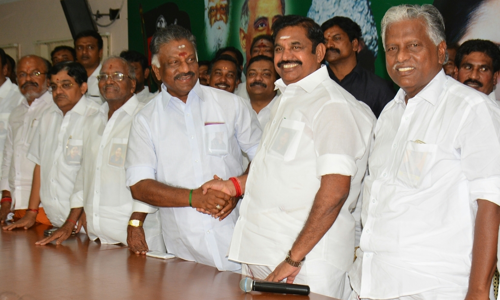 After Tuesday's resolutions, the power in the AIADMK now lies with Tamil Nadu Chief Minister Edappadi K Palaniswami (second from right) and his deputy O Panneerselvam (third from right). (Credit: IANS)