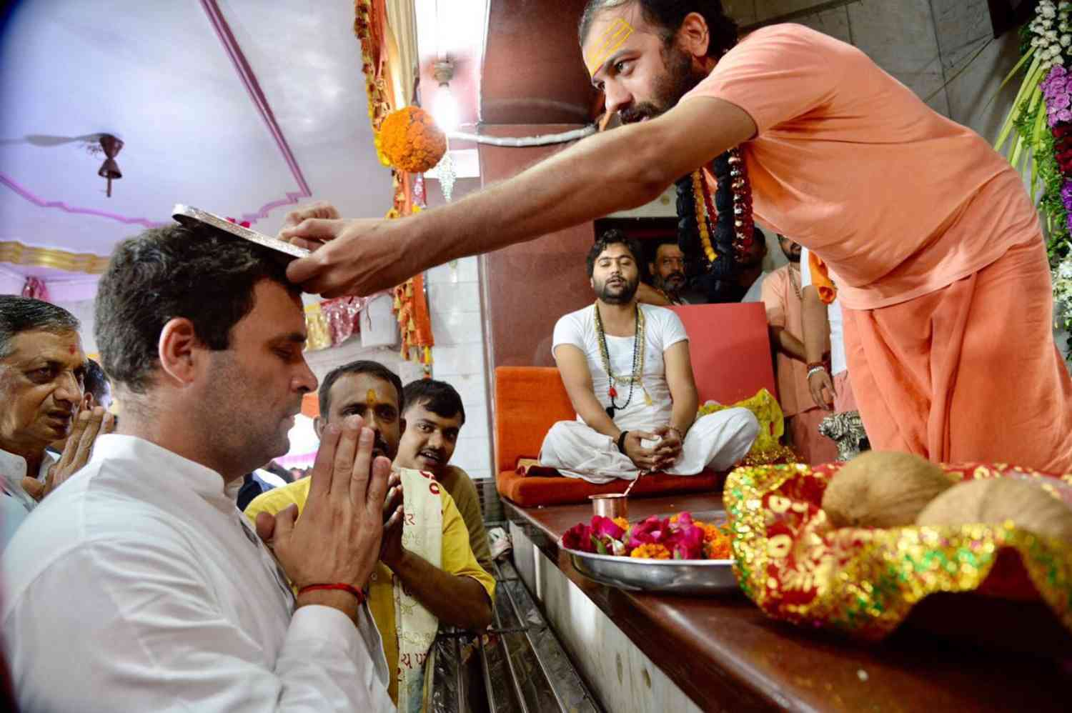 Rahul Gandhi's temple visits have segued into his party appropriating some of the defining symbols of Hindutva politics. (Credit: Indian National Congress)