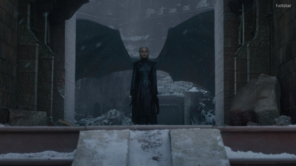 Daenerys Targaryen (Emilia Clarke) in the Game of Thrones series finale. Courtesy HBO.