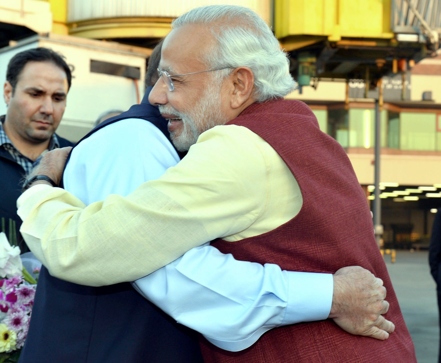Narendra Modi and Nawaz Sharif hug in Lahore, in December 2015. (Photo credit: AFP/PIB).