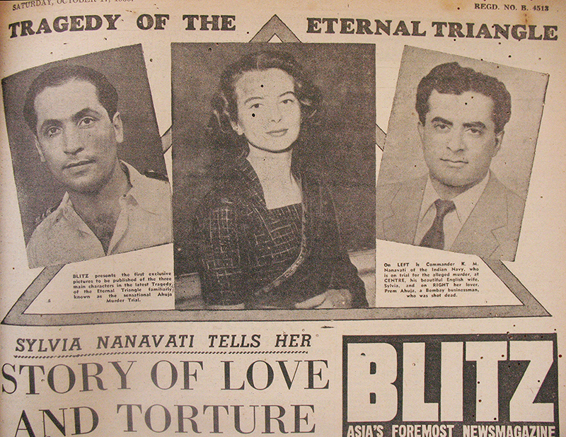 In the pre-television era, Blitz, a tabloid run by Russi Karanjia, was almost  single-handedly responsible for turning Prem Ahuja's murder into a nationwide gripping event that lasted nearly two and a half years. The relentless coverage drew from multiple domains, including forensic photographs of the crime. Blitz Tabloid reproduction of the Nanavati Case, 1959-'60. Images courtesy: Sabeena Gadihoke and Rita Mehta, New Delhi.
