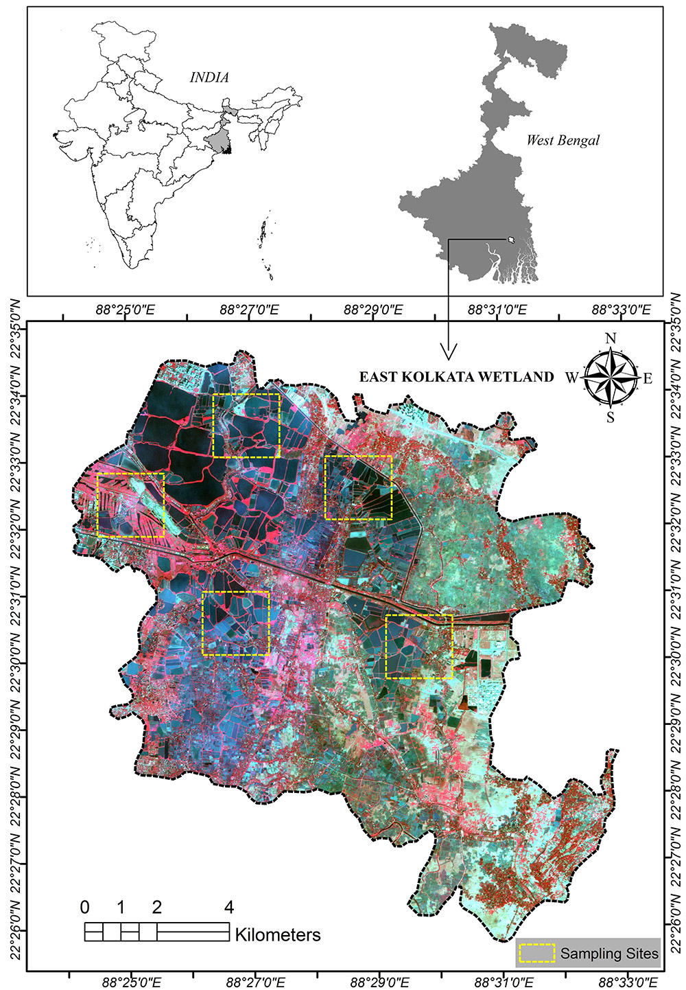 A map of the East Kolkata Wetlands presented in the study.