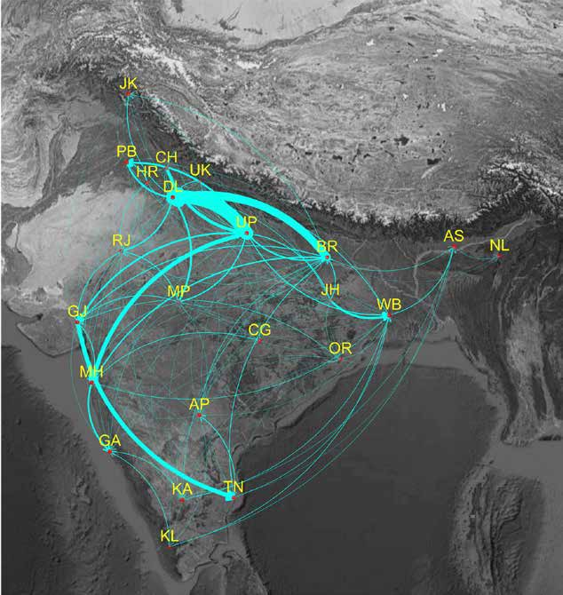 As Indians range across the country seeking work, pathogens are traveling too. Based on rail passenger data, a map of inter-state migration in India. (Image: Economic Survey 2016)