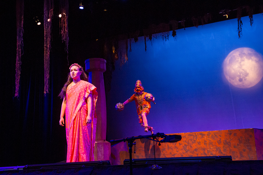 San Jose, California: During a rehearsal for a high school musical production of the Ramayana, Hanuman comes to Sita's aid while she waits alone in Ravana's garden. Mount Madonna School, which is part of a yoga center and spiritual retreat, has performed the Ramayana annually since 1978.