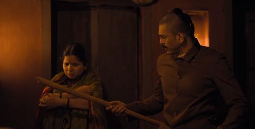 Bhagyashree Milind and Lalit Prabhakar in Anandi Gopal (2019). Courtesy Zee Studios, Fresh Lime Films and Namah Pictures.