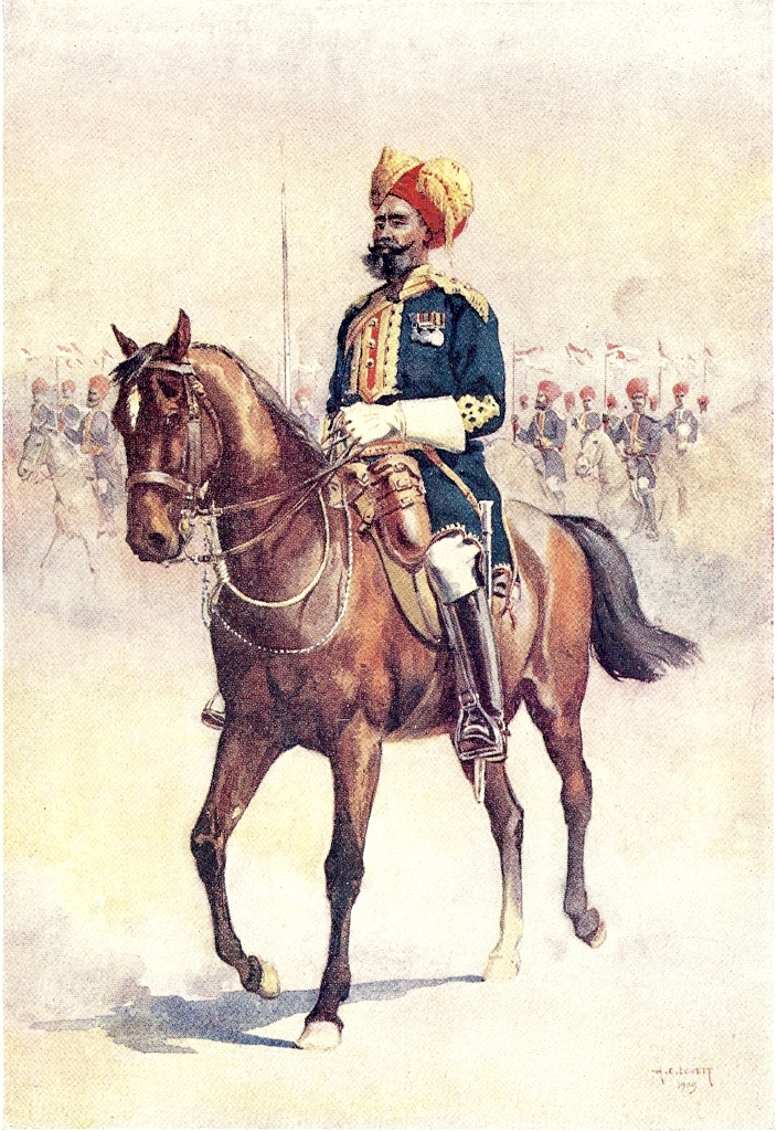 14th Murray's Jat Lancers. Watercolour by AC Lovett, 1911. Image credit: Wikimedia Commons [Public Domain]