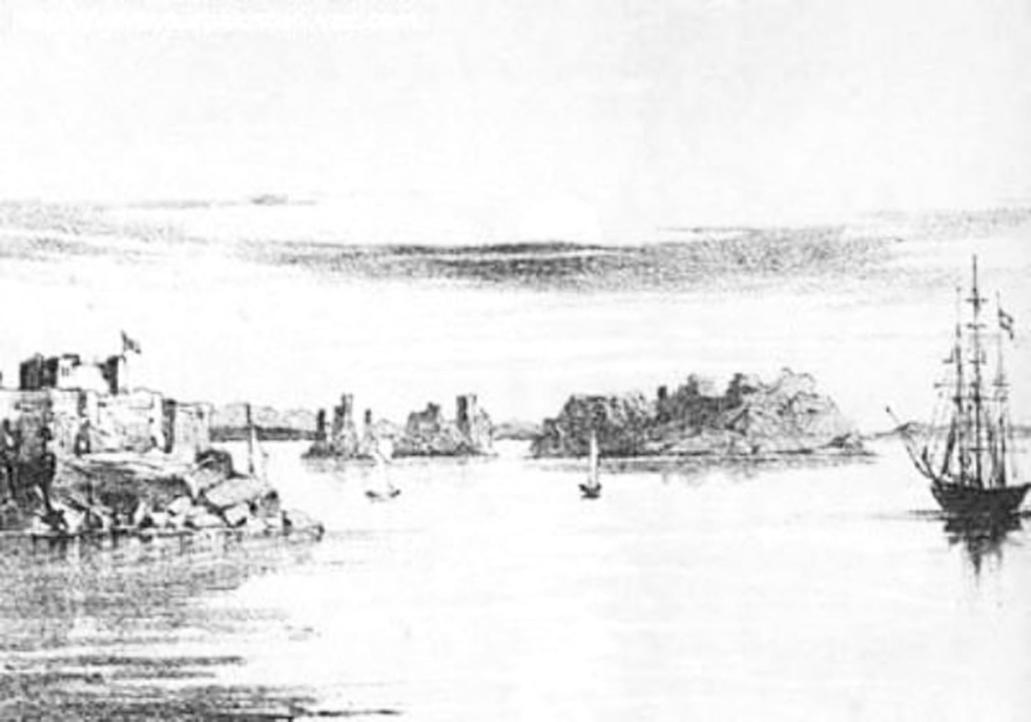 An 1839 sketch of Karachi drawn by a British traveller on the eve of Britain's conquest of the city. Source:  Gazetteer of the Province of Sind. B Volume 1 Karachi District 1919.