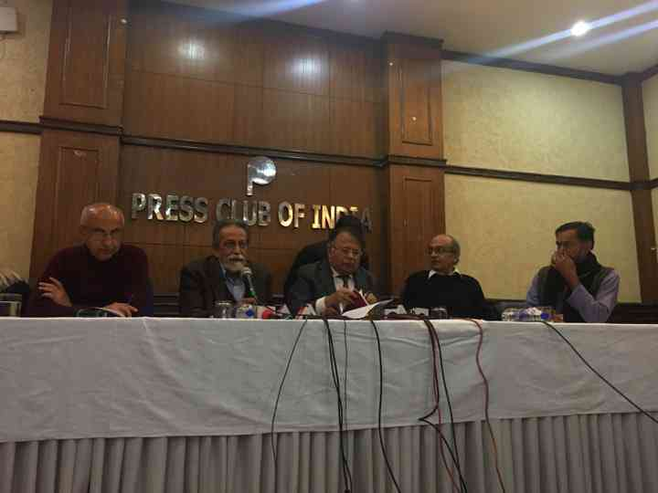Harsh Mander, Prabhat Patnaik, Justice AP Shah, Prashant Bhushan and Yogendra Yadav at the release of the 'Reclaiming the Republic' document. Photo credit: Sonal Hayat