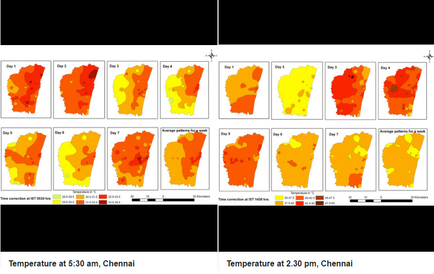 Source: Theoretical and Applied Climatology. In Chennai, the hottest areas are the urban centres and the coolest farmlands and open places.