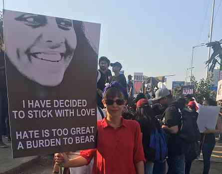 Michaela Talwar marches in Mumbai. Photo credit: Sruthi Ganapathy Raman
