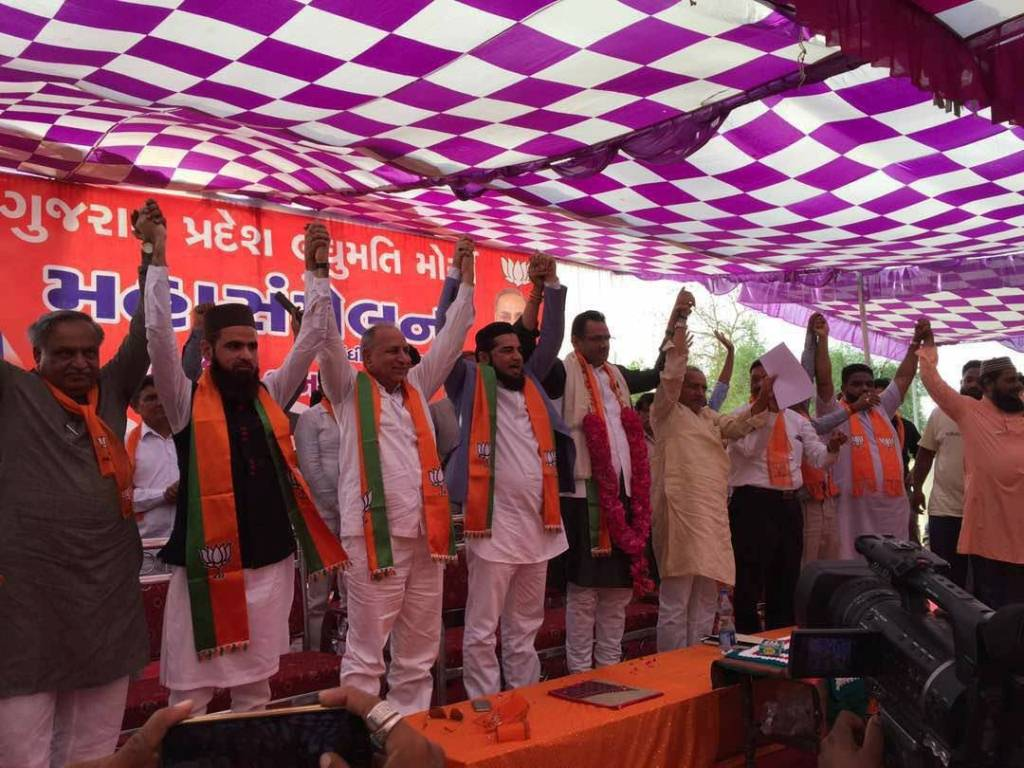 Nearly 2,000 Congress workers joined the BJP at the convention in Dahegam, Gandhinagar. Photo credit: Damayantee Dhar