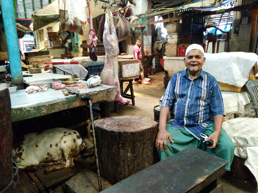 A mutton trader at the Sir Stuart Hogg Market. Image credit: Devarsi Ghosh.