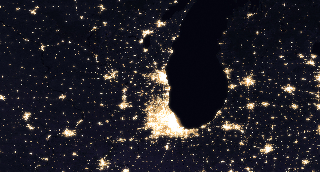 Chicago night lights in 2012. Photo Credit: Nasa