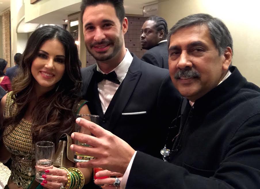 Sunny Leone, Daniel Weber and Dilip Mehta.