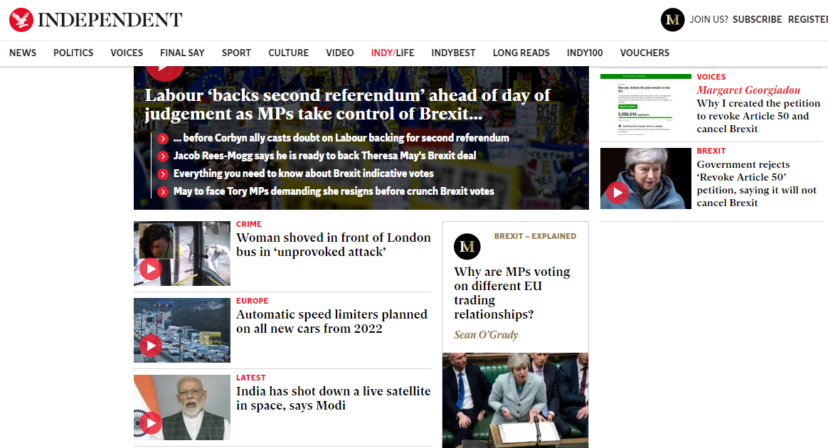 The 'Independent' website.