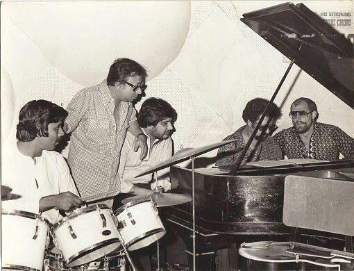 With RD Burman and his group. Photo credit: Gino Banks/Facebook